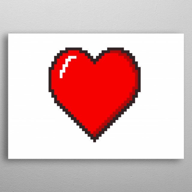 A bright red heart on a white background, pixel art pop style.  metal poster