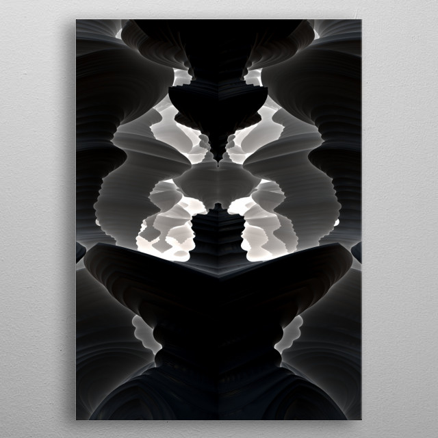 A black and white 3-D fractal rendering created with Mandelbulb 3D software. metal poster