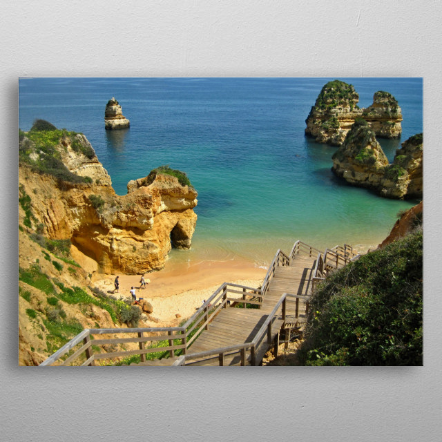 Near the Ponte da Piedade, Lagos, Algarve - Portugal we can find colorful bays with idyllic beaches. metal poster