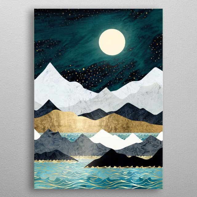 Abstract landscape of the ocean with mountains, stars, blue, gold and copper metal poster