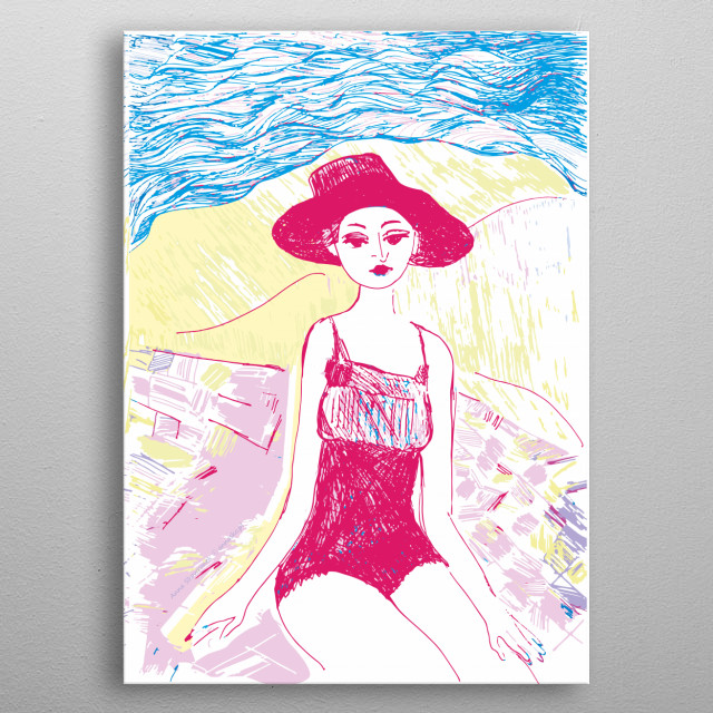 Woman sitting on the beach, pretty drawing, fine vintage illustration, holiday picture with a girl. All rights reserved. metal poster