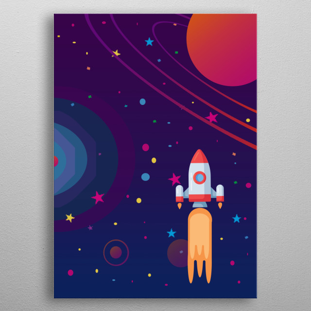An illustration of a rocket in space. metal poster