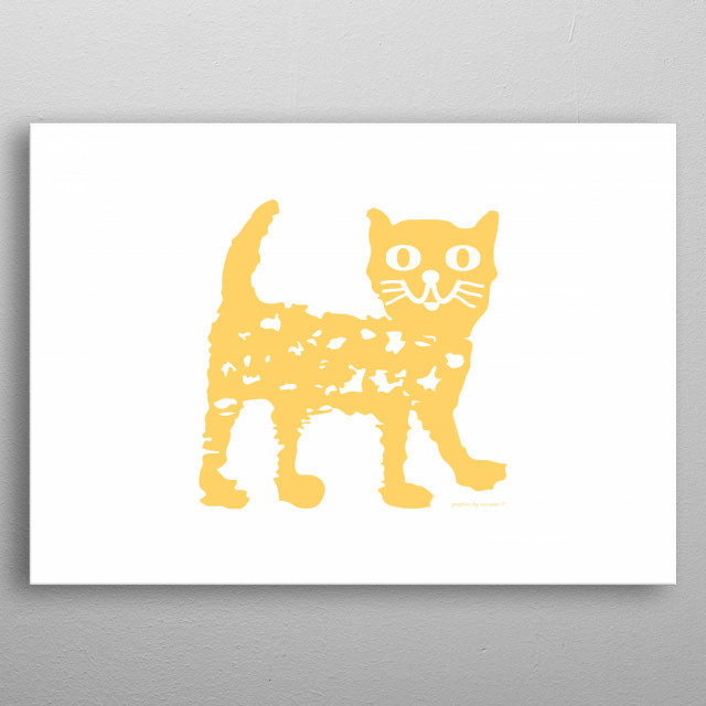 Drawing of a yellow cat, funny and cute design for children, nice picture for kid's room. All rights reserved. metal poster