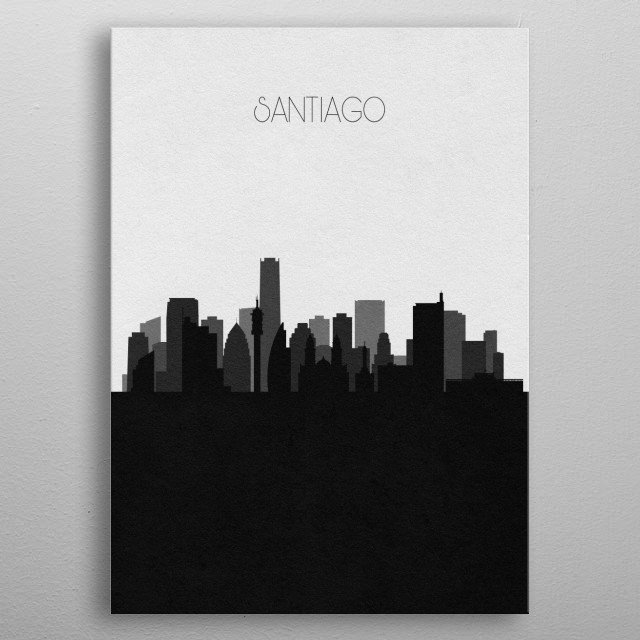 Black and white skyline illustration of Santiago, Chile. This minimalistic poster features famous landmarks and buildings of the city. metal poster