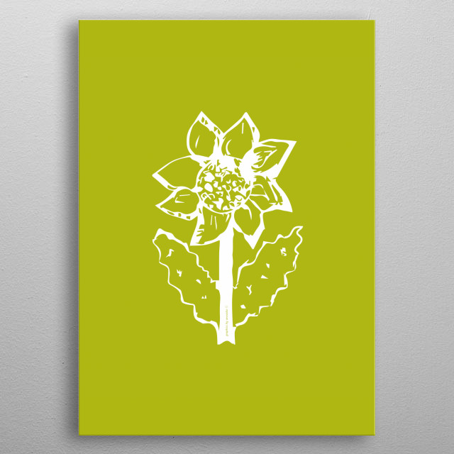 Minimalistic design, fresh colour, sunflower drawing, illustration. All rights reserved. metal poster