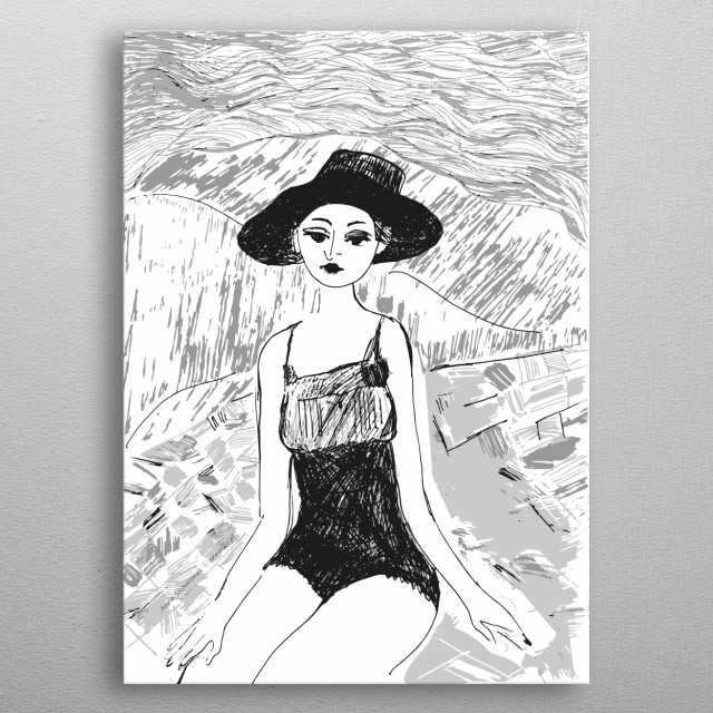 Black-white drawing of a girl on the beach, nice holiday illustration, vintage design. All rights reserved. metal poster