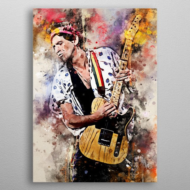 Keith Richards is the guitarist for rock rolling stone metal poster