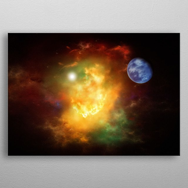 A trip through the deep space, a violent planetary explosion metal poster
