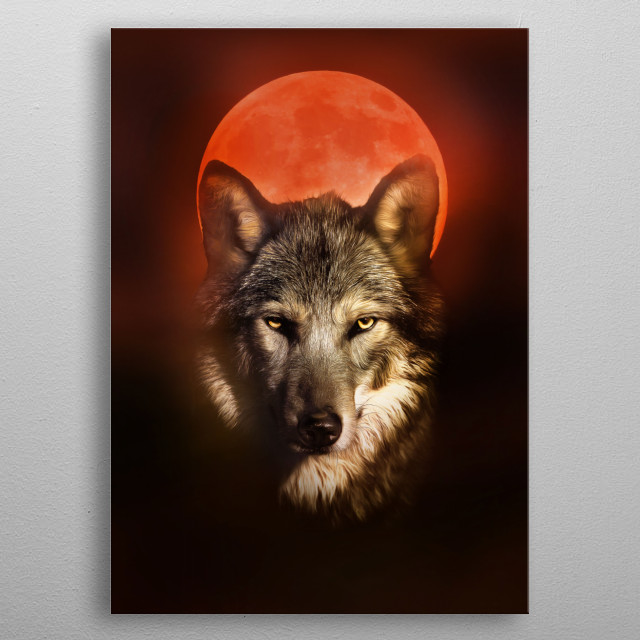 Tribute to the 21rst of january 2019 Lunar Eclipse, where the super moon is a wolf moon as well. metal poster