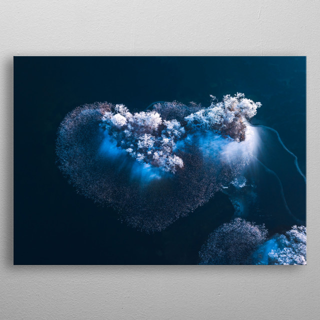 A beautiful frozen island which is shaped like a heart.   metal poster