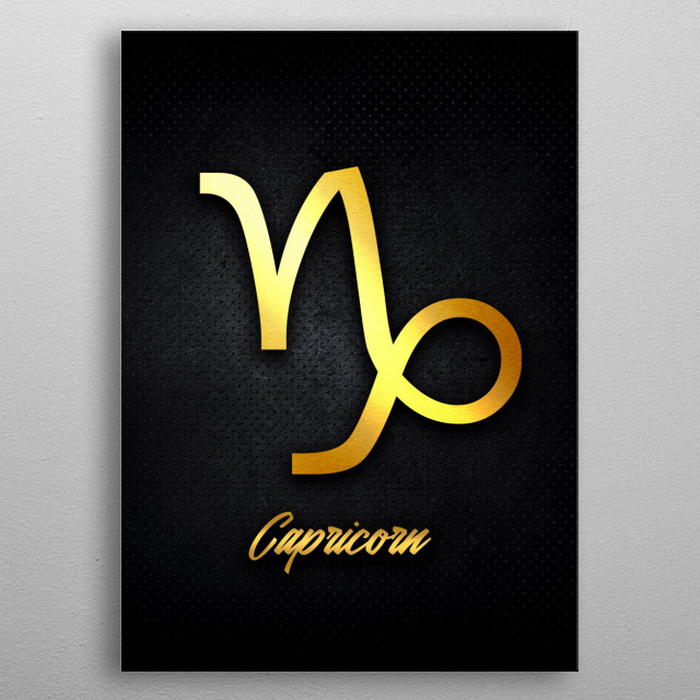 Capricorn astrology horoscope zodiac signs love gold foil metal poster