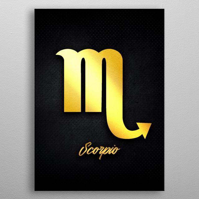 Scorpio astrology horoscope zodiac signs love gold foil metal poster