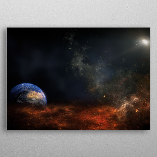 A trip through the deep space, a planete and the cosmic cloud metal poster