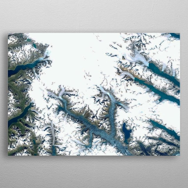 Area south of Greenland seen from above. metal poster