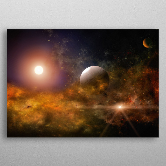 A trip through the deep universe. An orange cosmic cloud and a planet metal poster
