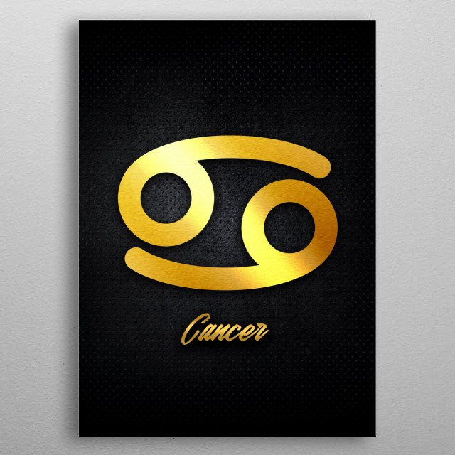 Cancer astrology horoscope zodiac signs love gold foil metal poster