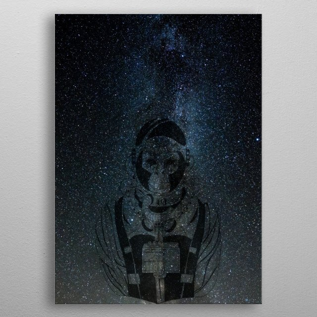 I was inspired by the picture of the starry sky, and the monkey's silhouette as a memory of the beginning (stars and monkey). metal poster