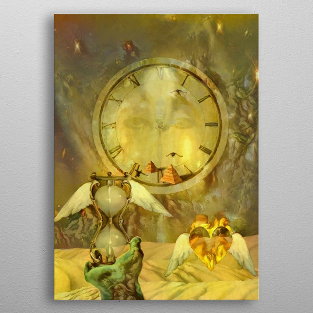 Symbolic composition. Winged hourglass and heart. Clock face and Egyptian pyramids. Sands of time metal poster