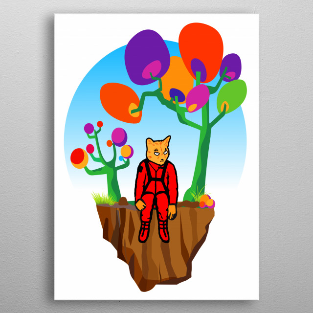 Catstronaut has found a lonesome asteroid he wants to call home. metal poster
