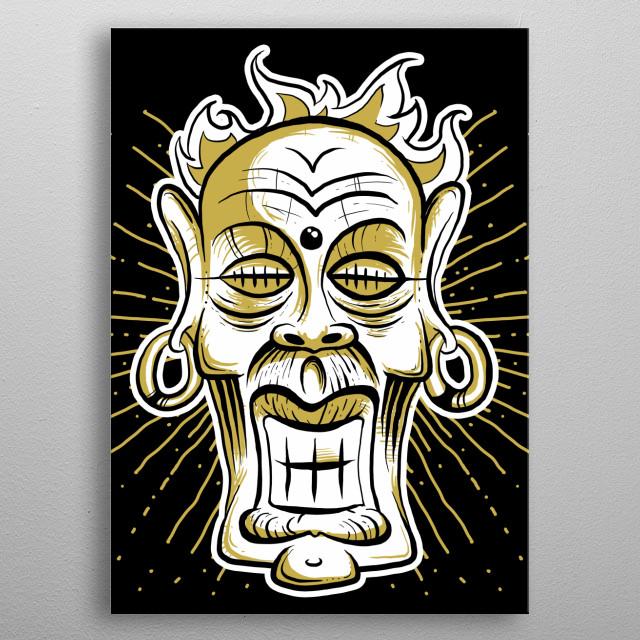 An imaginary deity mask. metal poster