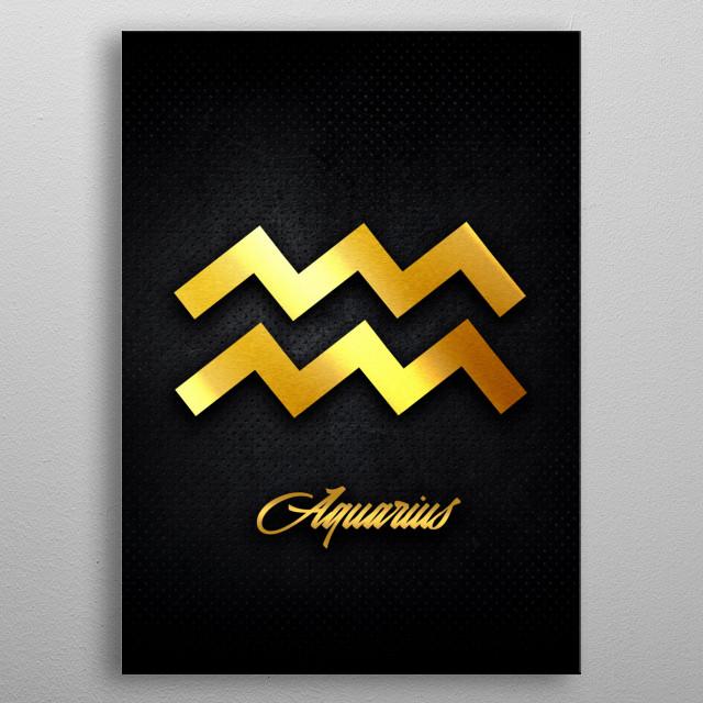 Aquarius astrology horoscope zodiac signs love gold foil metal poster