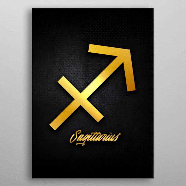 Sagittarius astrology horoscope zodiac signs love gold foil metal poster