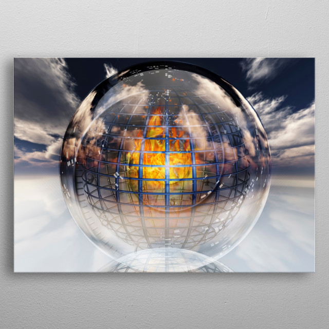 Fire contained in sphere. Clouds in the sky metal poster