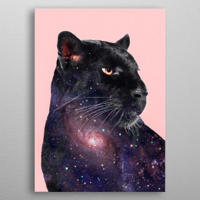 Galaxy Panther metal poster