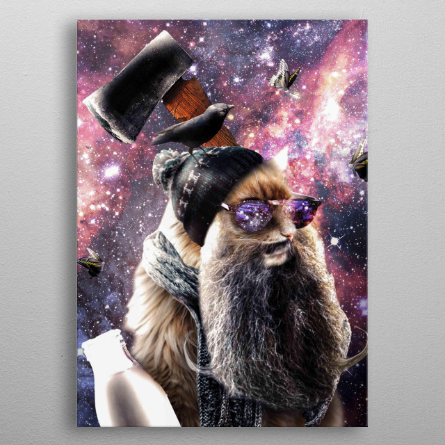 Pick up this funny hipster galaxy space cat design. metal poster