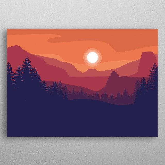 Afternoon Nature flat design with adobe illustration . metal poster