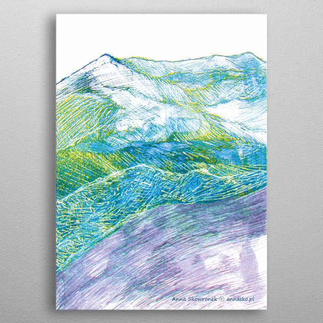Drawing of the mountains, modern design landscape sketch. All rights reserved. metal poster