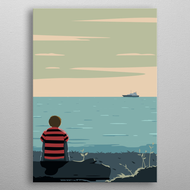 about a kid waiting his father home metal poster