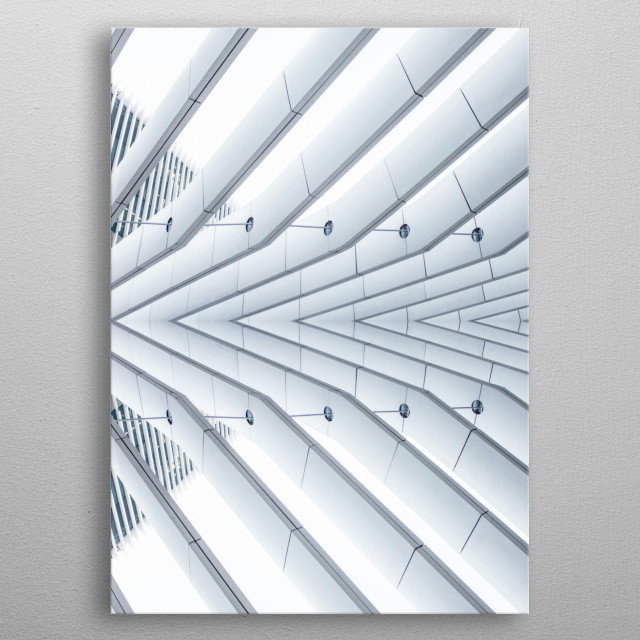 Monochrome and minimal surreal image of abstract symmetrical architecture metal poster
