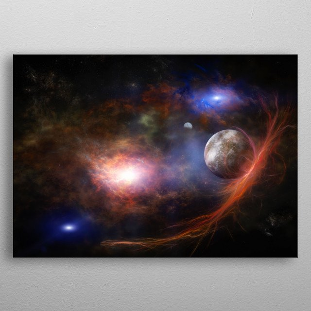 A trip through the deep space, through the nebula metal poster