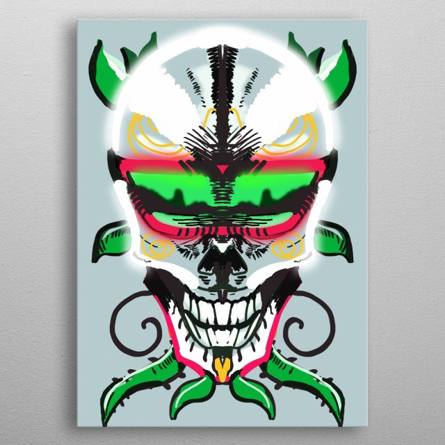 Illustration of a neon skull  with glasses metal poster
