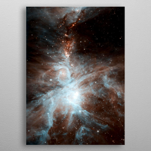 A colony of hot, young stars is stirring up the cosmic scene. The image shows the Orion nebula, a happening place where stars are born. metal poster