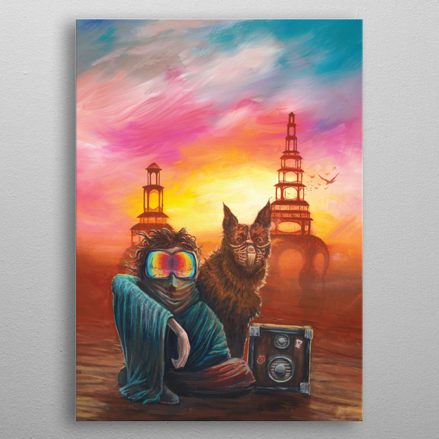 Painted at Desert Hearts Spring Festival 2016. Inspired by Burning Man Culture. metal poster