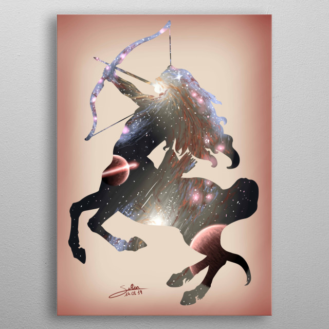 Sagittarius, one of the 12 signs of the zodiac.  Artwork made for the Interstellar art challenge metal poster