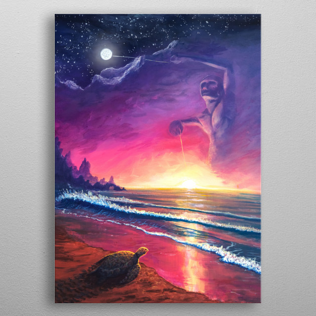 A poi dancer spirit balances the flow of the tides. A turtle (spirit animal) enters the crashing waves. Painted with acrylic on canvas. metal poster