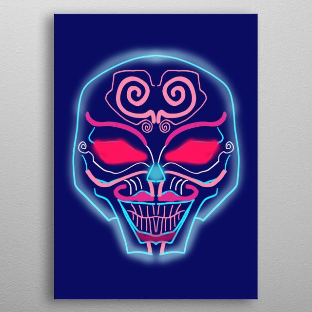 illustration of  a neon skull metal poster