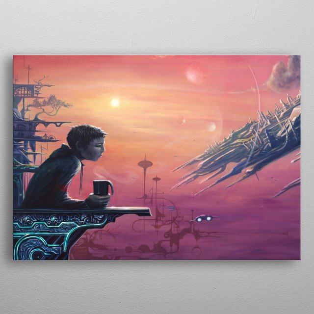 Futuristic Sci-Fi setting with a character drinking his morning coffee. Painted with acrylic on canvas. metal poster