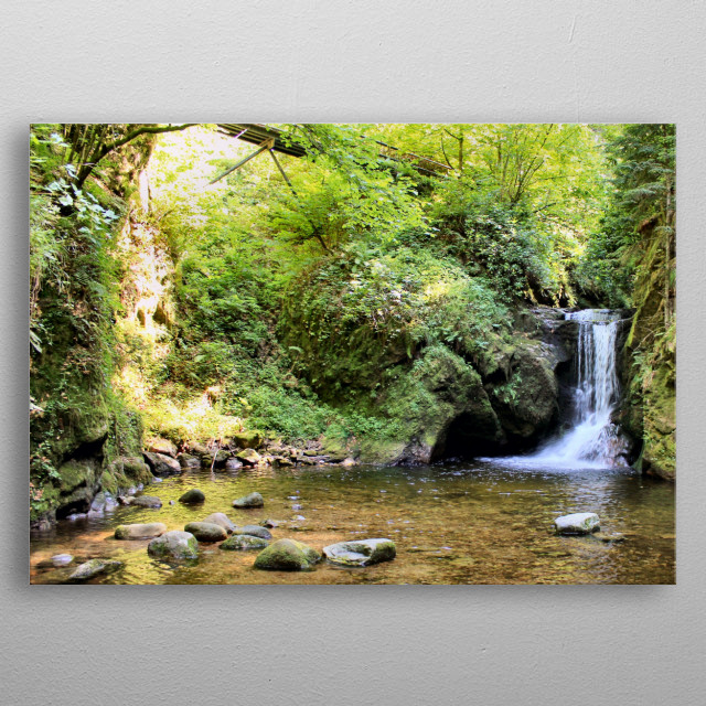 Waterfall in a German forest.  metal poster