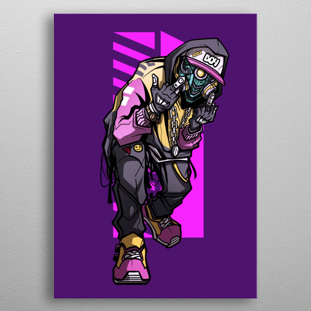 mixed hip hop culture with cyberpunk theme metal poster