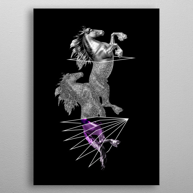 Illustration of a horse, inspired by minimalism style and abstract art, showing animals getting phased through the lines. metal poster