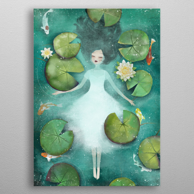 Illustration of a girl floating in water among waterlilies and koi fishes.  metal poster