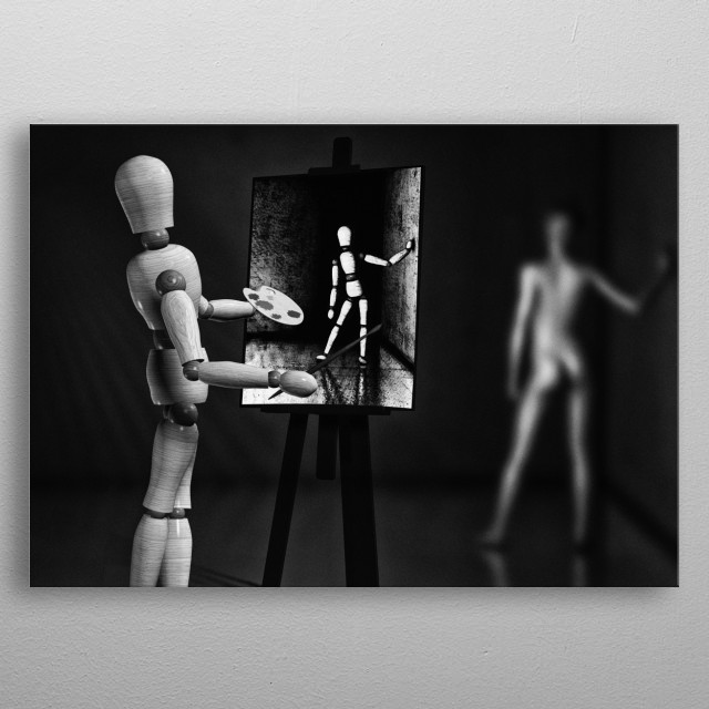 Spending the day in the studio with nude model. Plate 4 from the Wooden Man series by Bob Orsillo /  metal poster