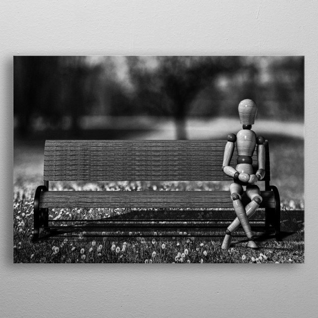 Waiting for the taxi but the taxi never comes.. Plate 1 from Wooden Man series by Bob Orsillo /  metal poster