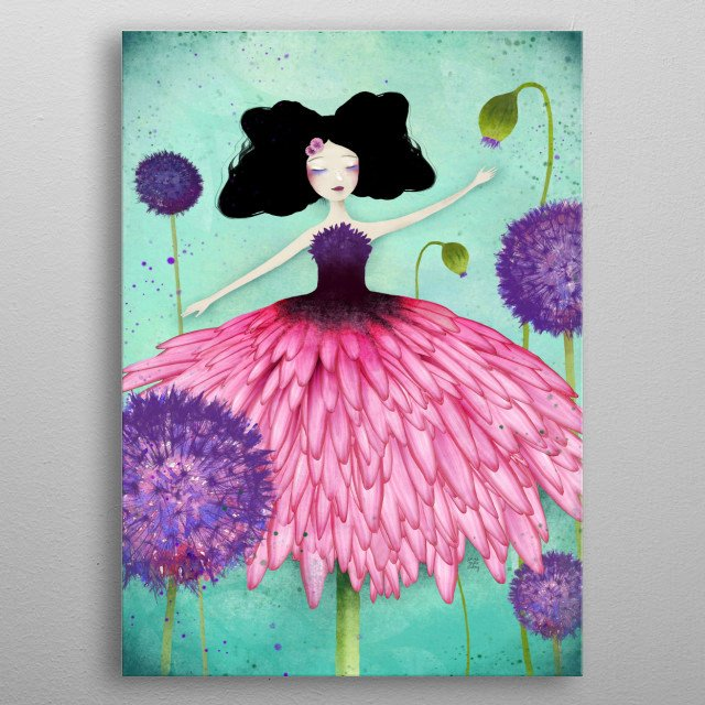 Illustration of a flower fairy in a field of dandelions. metal poster