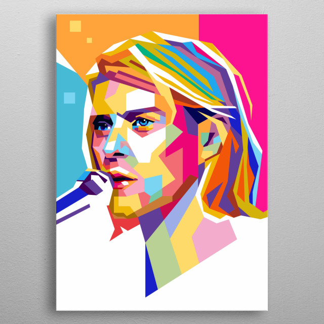 Portrait pop art illustration Kurt Cobain, singer and guitarist for the band Nirvana metal poster