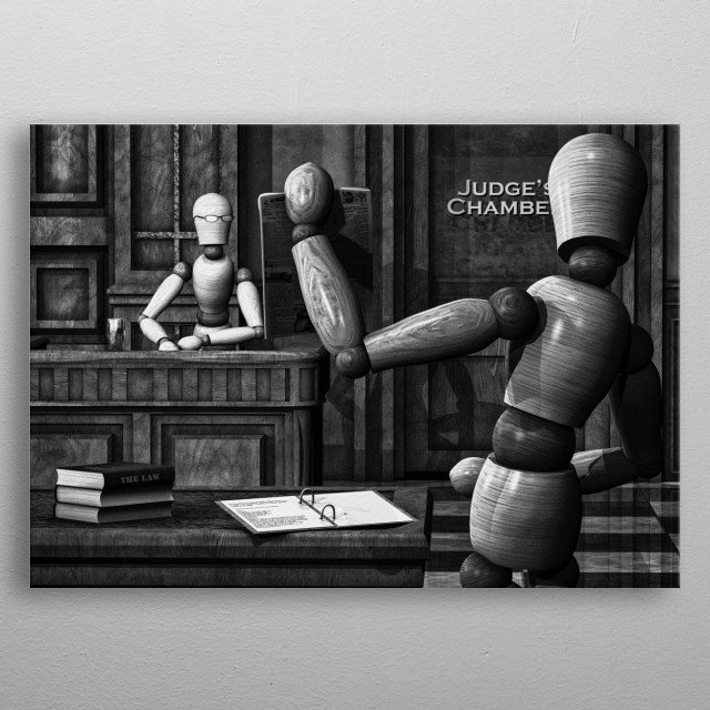 Witness For The Prosecution damning evidence is testified to.  Plate 8 Wooden Man series by Bob Orsillo /  metal poster